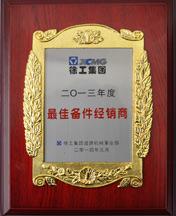 路友荣获(道路机械)最佳备件经销商证书